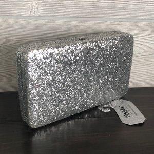 Silver Structured Wallet/ Clutch